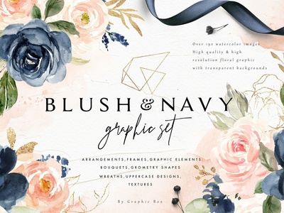 Blush & Navy-Watercolor Graphic Set