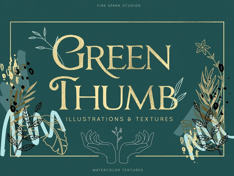 Green Thumb Illustrations & Textures tropical foil texture monoline line art abstract logo elements leaves gold golden flowers floral garden greenery textures illustration thumb green green thumb textures green thumb illustrations green thumb