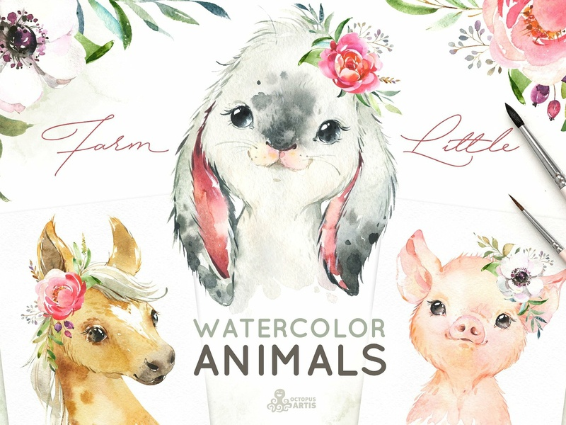 Farm Little Watercolor Animals by Graphic Assets on Dribbble