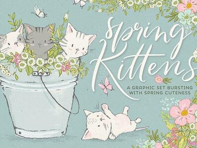 Spring cute kittens graphics bundle