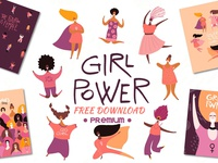 FREE Premium Download - Girl Power Vector Set, Art & Quotes