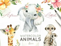 Africa. Little Watercolor Animals