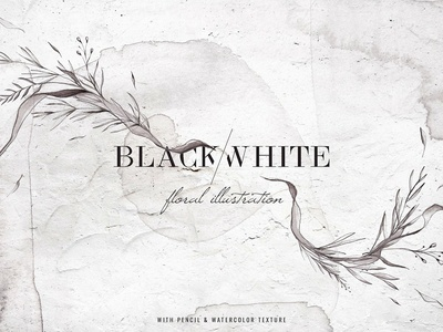 Black & White Watercolor Floral