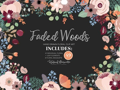 Faded Woods Flower Clipart Set