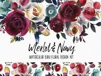 Merlot & Navy Boho Floral Design Kit