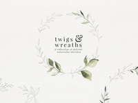 Twigs & Wreaths watercolor sketches