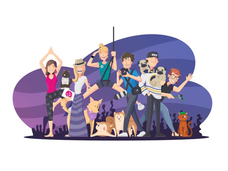Sealab Team dog character team illustration