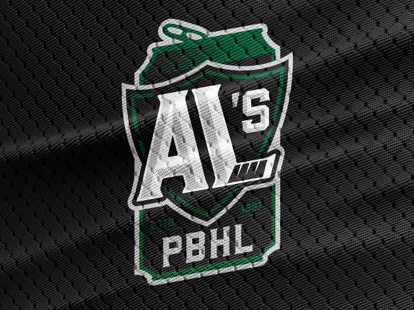 Al's Pro Beer Hockey League hockey stick sports jersey tab can badge beer league hockey beer