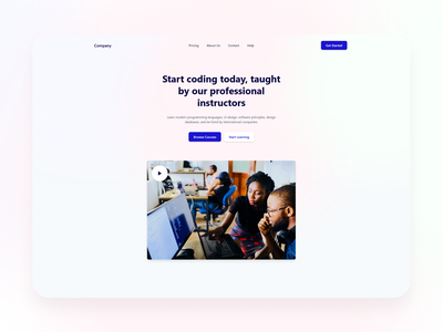 hero with video web design design ui landing page branding homepage ui design
