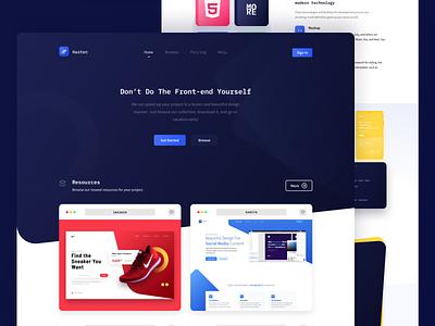 hasten ui design homepage blue hero hero design web design landing page ui design branding
