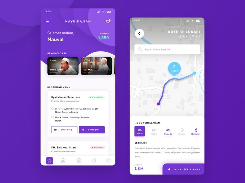 Mobile Application – Kajian App purple mobile ui icon mobile app design mobile app design app design ui