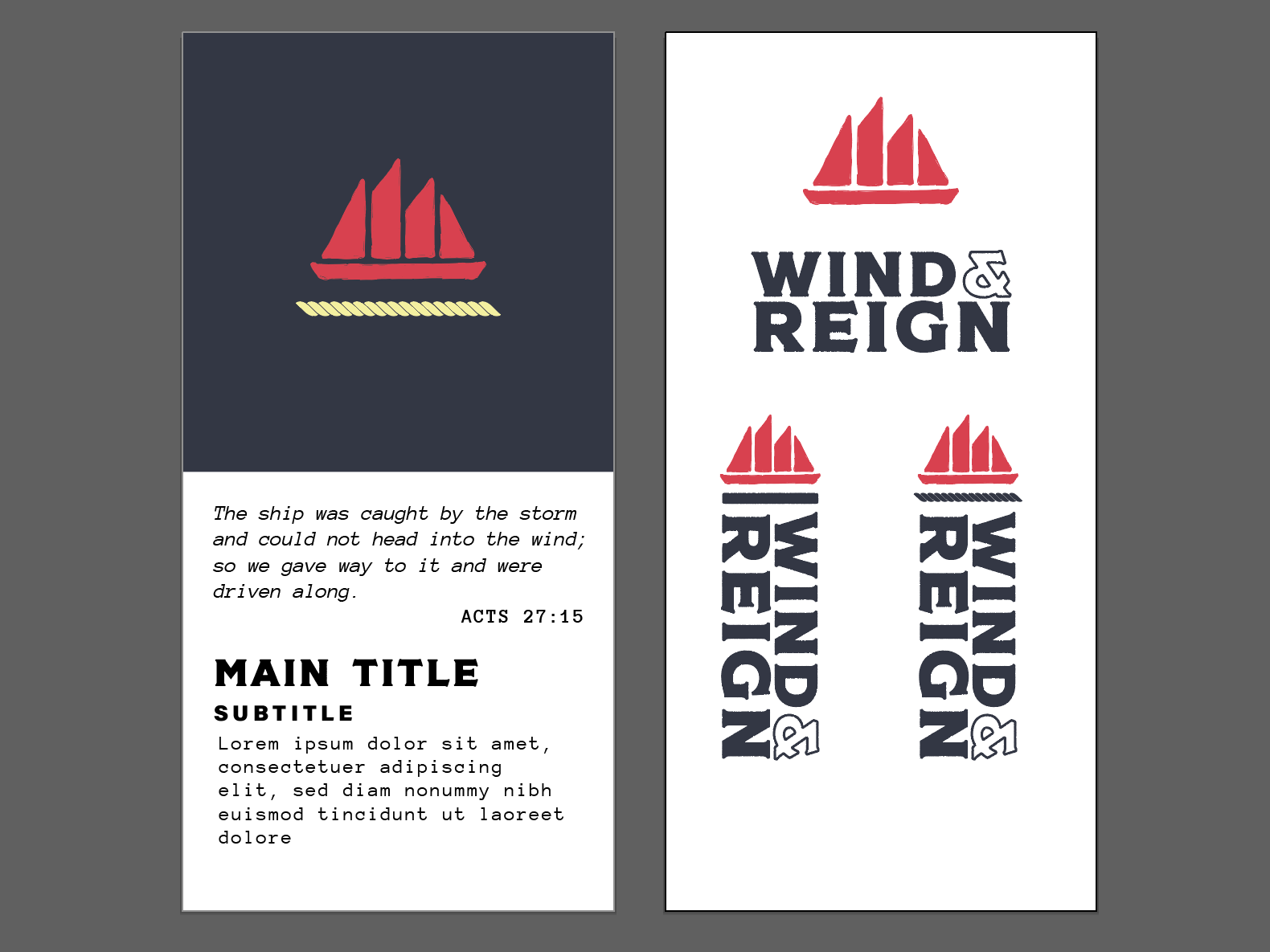 Wind & Reign Event Design nautical ship wind typography logo event branding design