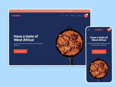 Asanka Concept Restaurant Website Design spicy jollof ghana african africa restaurant food ux ecommerce design website landing hero uiux ui