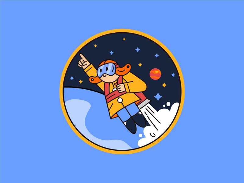 Space Oddity character design illustration spaceflight patch patch design space dribbbleweeklywarmup
