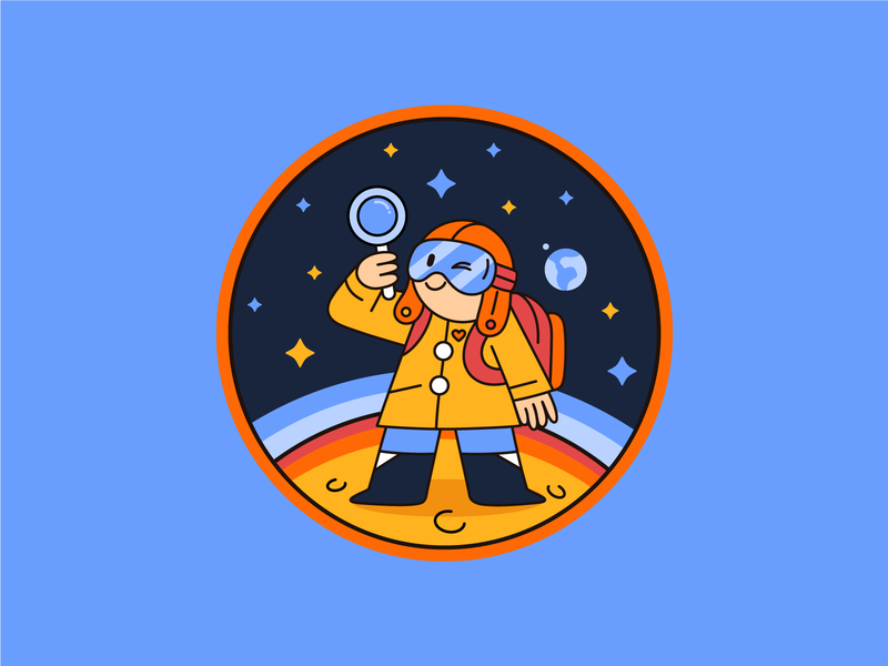 Space Oddity character design spaceflight space patch design patch illustration dribbbleweeklywarmup