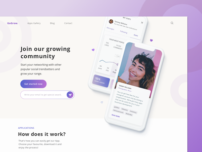 Grow - Landing Page purple unsplash vectors responsive sketch grow account social design dribbble simple shot web ux ui minimal landing page interface