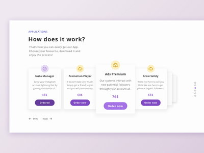 Landing Page - Detail cards slider carousel landing dribbble simple shot web desktop interface minimal design