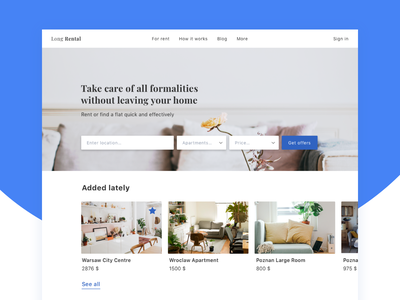 Long-Term Renting Page apartment flat rent interior carousel engine search web page landing ui ux shot dribbble desktop interface minimal design