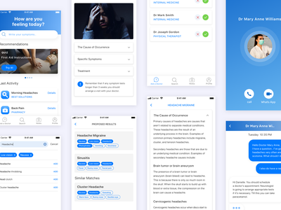 Medical App Design Project blue and white concept app product search tags medical med app design ui ux minimal interface