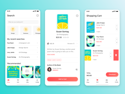Bookstore App Concept sketch shopping card shop app product card iphone x gradient color daily ui search shot app ui ux minimal interface design