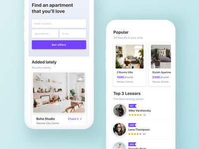 Renting Apartments App rental app clean ios rent real estate book cards input search app design interface minimal ui ux