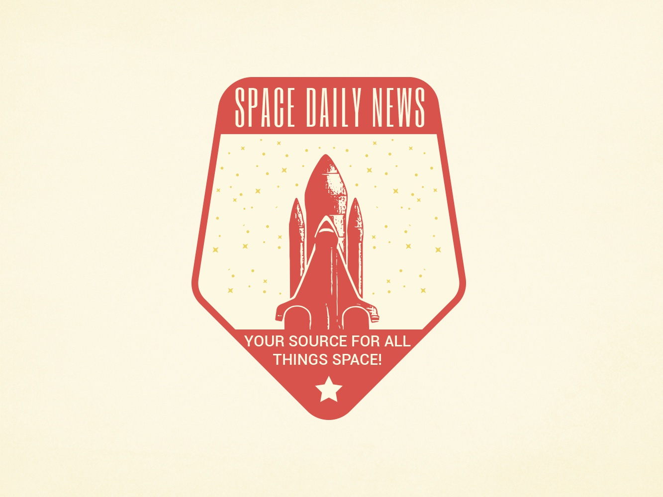 Space Daily News badge vintage design logo sarahgraphics news daily space