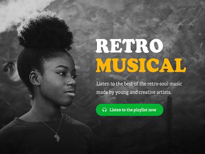 Retro Musical landing page web design ui design tyography