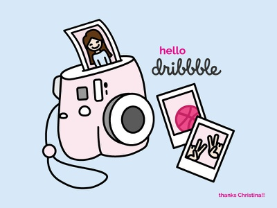 hello dribbble! vector illustration first shot debut shots polaroid