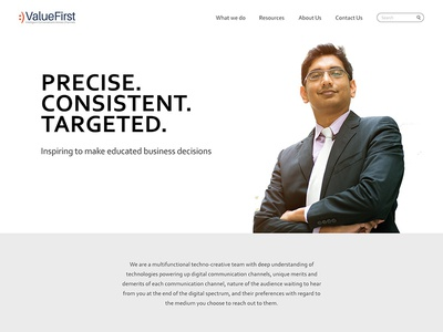 Valuefirst Home Page UI