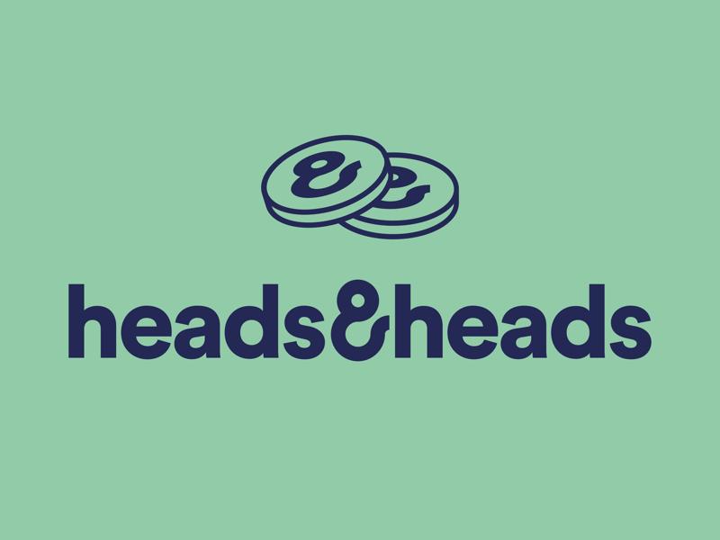 Heads & Heads betting wordmark ampersand coin logo design symbol logo