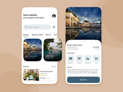 Hotel Booking App room booking booking hotel app booking system hotel booking booking app traveling travel agency minimal ui ui design mobile ui travel app ui travel app travel