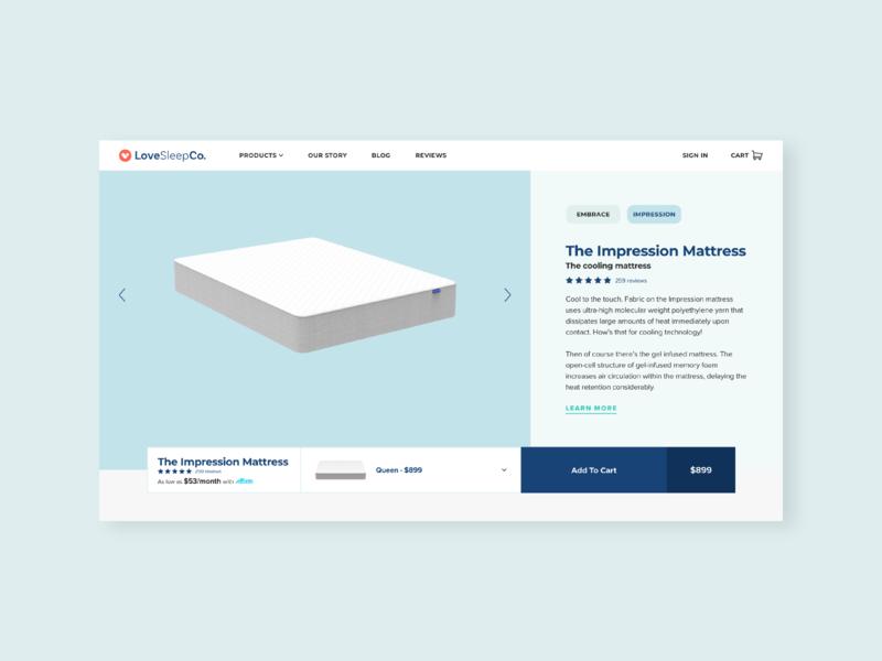 LoveSleep PDP mobile design responsive interactive design design ux uiux ui digital design web design graphic design visual design
