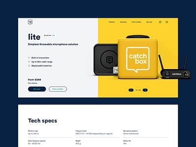 Catchbox. Website. tech details tech specs cart header menu catchbox images gallery slider price review rating product hero experience app ux ui design