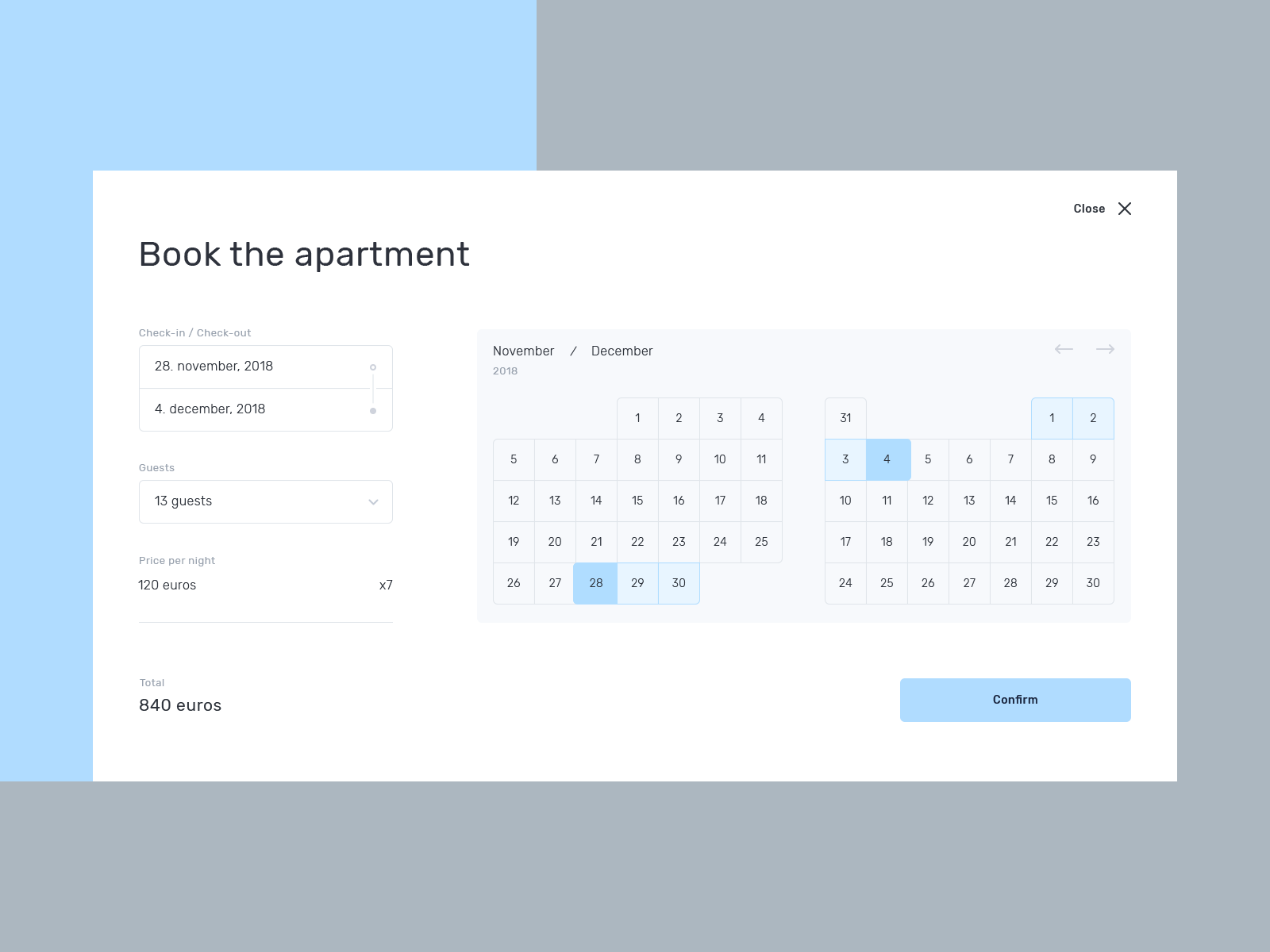 Hideout. Book house calendar tool page web page user date guests apartment book web experience ui ux interface design