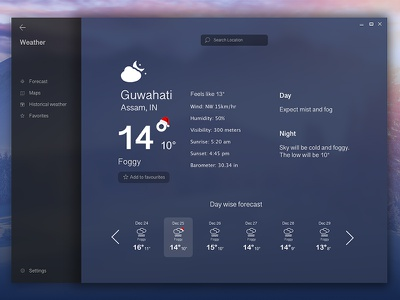 Microsoft Fluent Design - Windows weather app concept weather interface microsoft concept fluent design