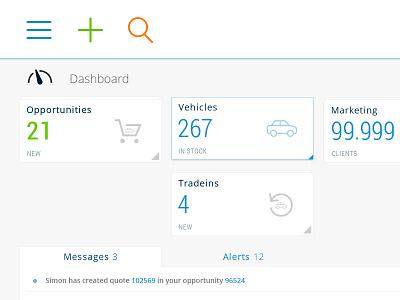 Automotive intranet dashboard V3   WIP application app web dashboard thin flat airy minimal