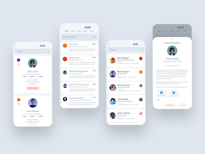 Email App Mobile UI user inteface ui design xd adobe xd adobexd contact manager contacts email client email design mobile app ux ux design website design web design