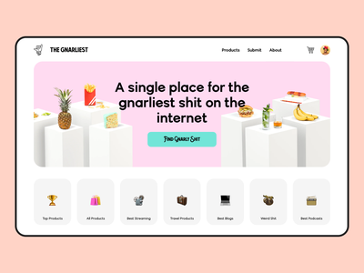 The Gnarliest shopping cart teal pink design editorial hero landing page ux design website design web design icons pastel shopping web app blog ecommerce
