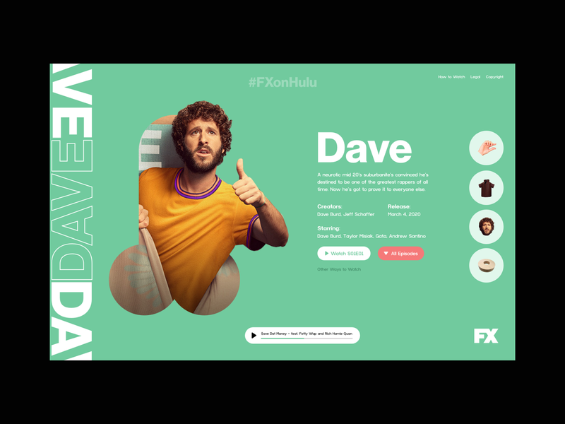Dave TV Show Website penis dicky series television film episode tv show landing page ux design website design web design