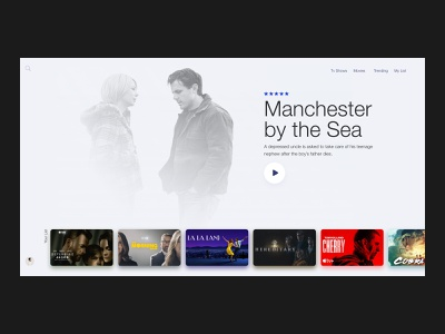 TV Movie App UI Design tv shows minimal ui design ui  ux media player plex movie posters gallery movie ui movie app cards cards ui grid design netflix tv app landing page ux design website design web design