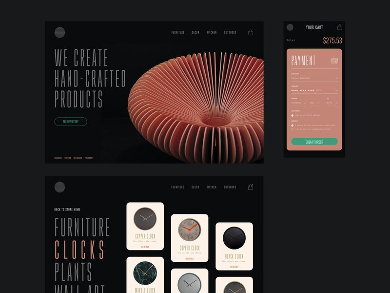 Furniture Store Web Design pastel black website payment form checkout page ecommerce design dark ui store clean minimal ecommerce ux landing page website design ux design web design