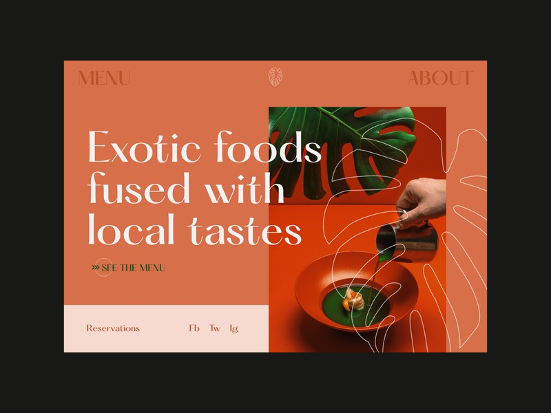 Exotic Restaurant Web Design tropical clean ui pastels food and drink menu website design landing page ux design web design exotic outline large type serif concept branding restaurant