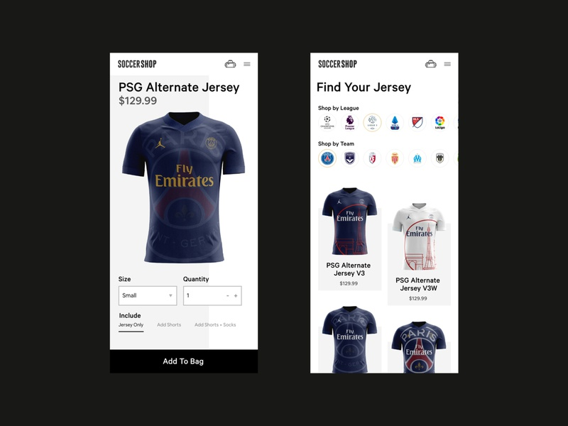 Soccer Store Mobile App psg france paris jerseys ecommerce design shop design shop app ux clean ui website design web design ux design ecommerce app store app mobile ui futbol football soccer app soccer
