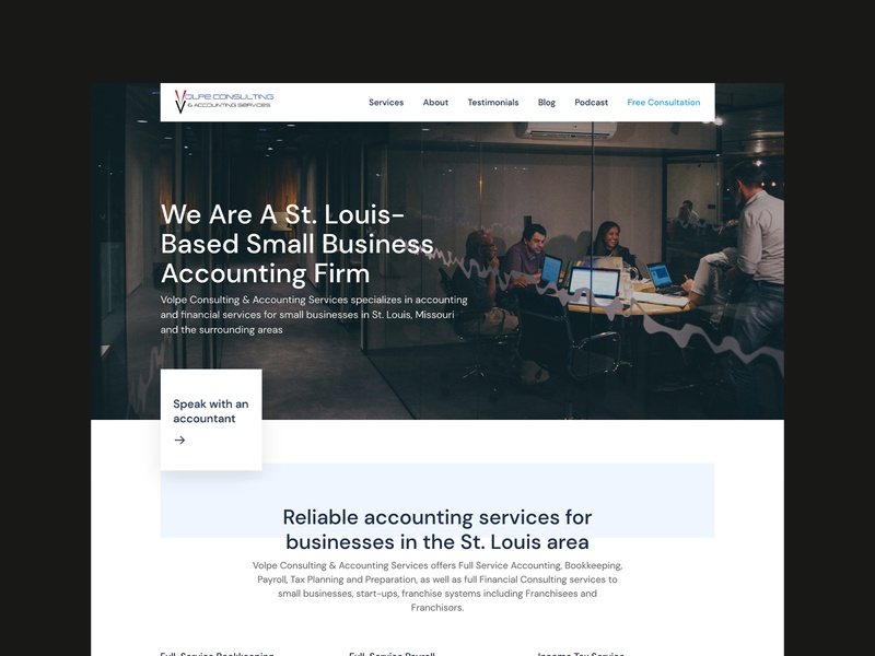 Accounting Firm Web Design ux ui ux landing page website design web design ux design adobe xd adobexd wordpress business website clean shadow finance accounting stl st. louis