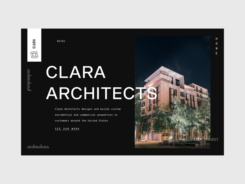 Architecture Firm Landing Page monotype ux website design web design ux design clean ui black  white dark ui sans serif large type landing page architect architecture