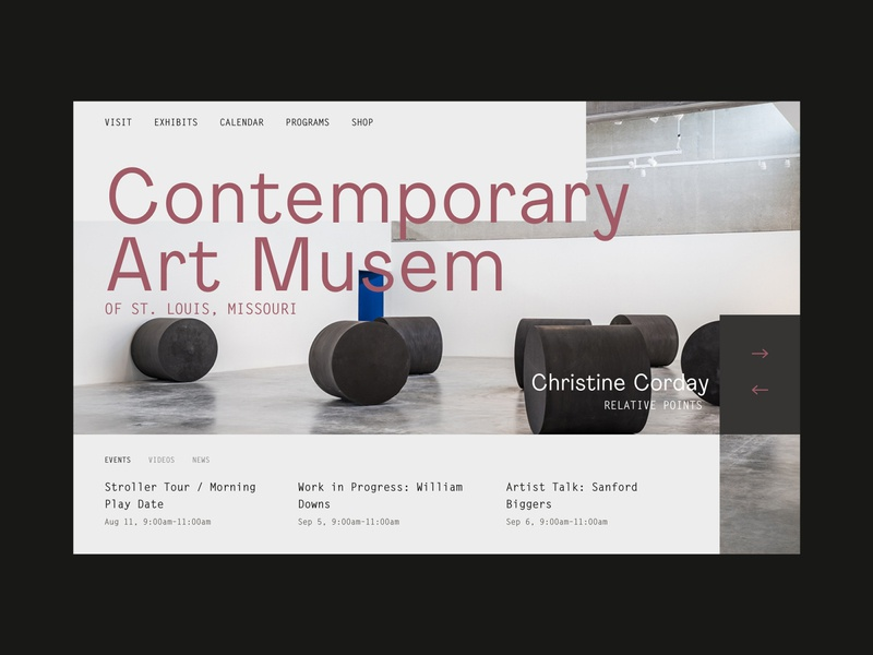 Contemporary Art Museum of St. Louis blog events large type monotype clean ui pastel website design ux landing page ux design web design slider art museum