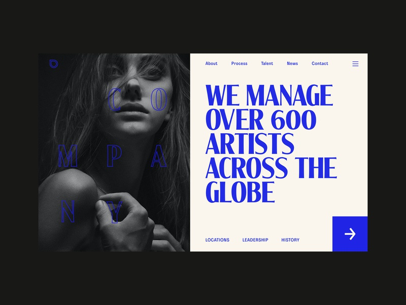 Musician Agency Website ui agency website contact locations tan large type about us company ux design website design landing page web design horizontal scroll agency musician music