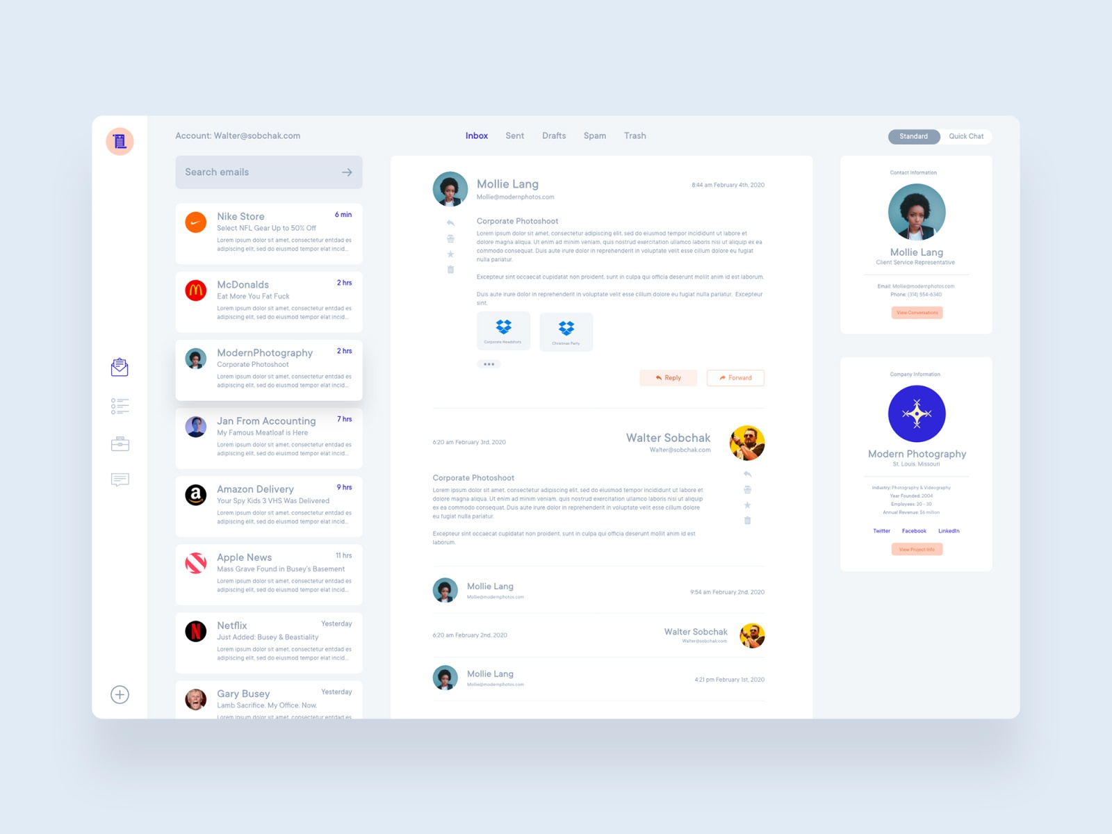 Email Client Web App By Matt Mckenna For Delt On Dribbble
