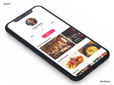 Daily UI #006 User Profile food concept profile user app mobile ios day006 dailyui daily100