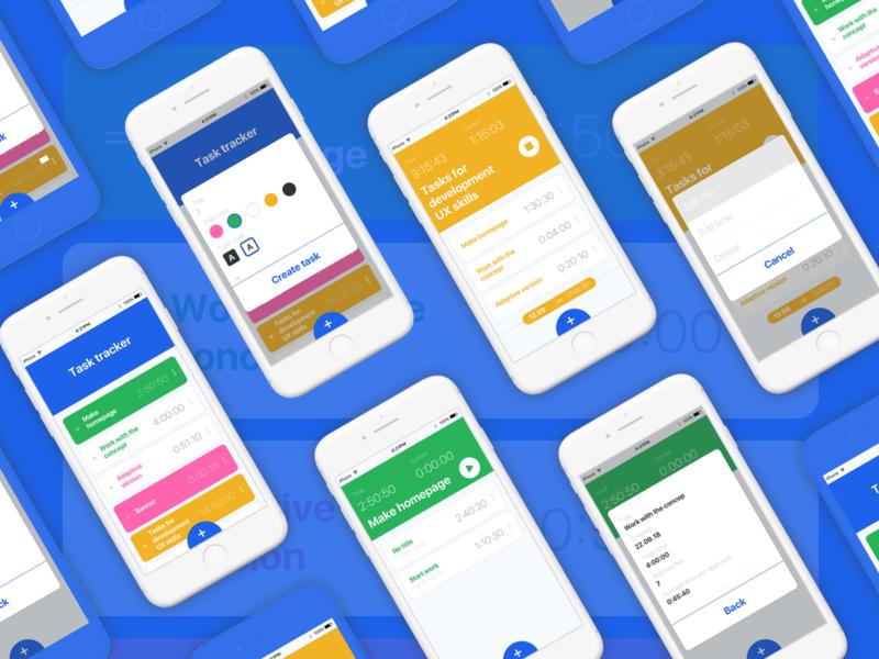 Task Tracker Shot 1 web work flow ux ui timer task tracker mobile design concept colorfull cards app
